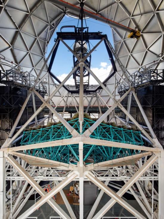 Inside the Hobby-Eberly Telescope.  Image via McDonald Observatory.