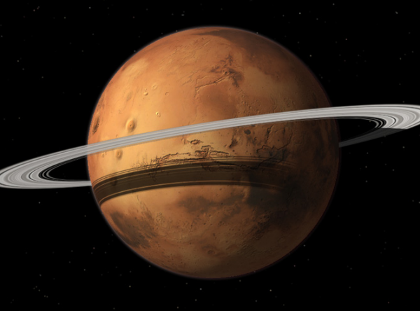 Mars could gain a ring in 10-20 million years when its moon Phobos is torn to shreds by Mars gravity. Image of how Mars might look by Tushar Mittal using Celestia 2001-2010, Celestia Development Team.