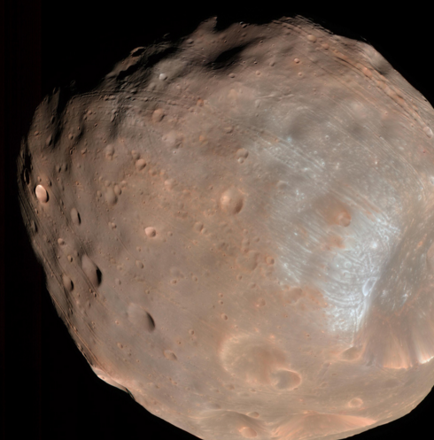 Phobos is a lumpy, fractured moon that will be torn apart by Mars' gravity when it gets too close to the planet. Image credit: NASA