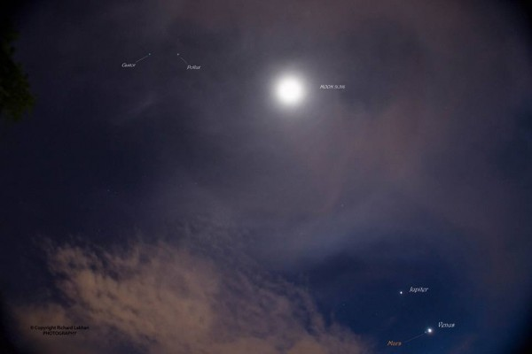 Mars, Venus and Jupiter held close together with a beautiful halo structure around the moon separating the twins Castor & Pollux.  From San Fernando, Trinidad at 5:17 a.m. on November 3.  Photo by Richard Lakhan.