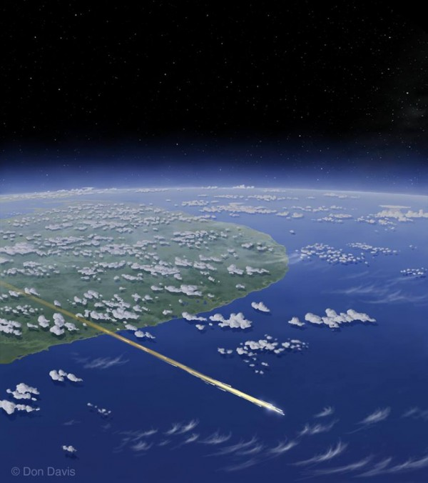 View larger. | Artist's concept of the predicted reentry of space debris WT1190F, over the Indian Ocean south of Sri Lanka.  Original artwork copyright Don Davis.  Used with permission.  Further use in print or video by arrangement with Don Davis. Visit his website.