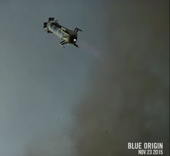 Video still from Blue Origin of the November 23, 2015 successful soft landing of the New Shepard rocket.