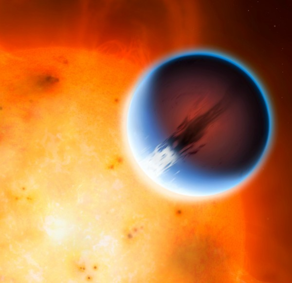 This illustration shows the planet HD 189733b is shown here in front of its parent star. A belt of wind around the equator of the planet travels at 5400mph from the heated day side to the night side. The day side of the planet appears blue due to scattering of light from silicate haze in the atmosphere. The night side of the planet glows a deep red due to its high temperature.