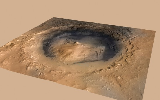 View larger. | Gale Crater on Mars, via NASA. Its central peak is called Mount Sharp.