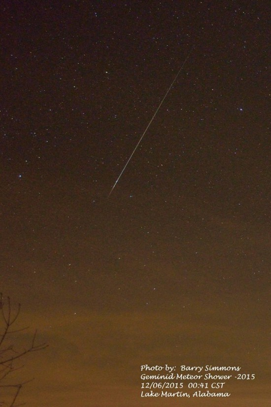 Early Geminid meteor caught on the night of December 6, 2015, by Barry Simmons in Lake Martin, Alabama.
