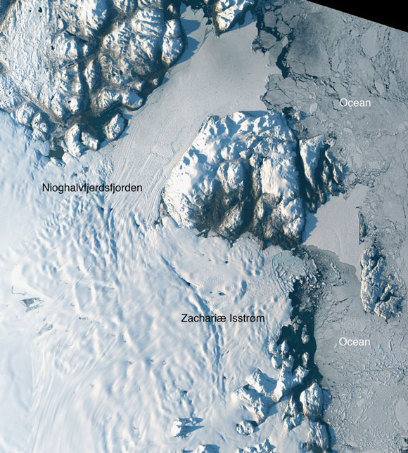 Satellite image of two glaciers in northeast Greenland. Image was taken on August 30, 2014. Image Credit: NASA/USGS.