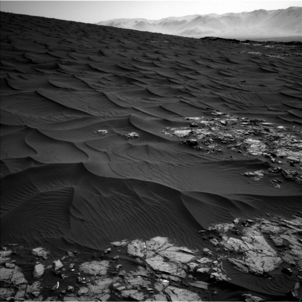 Image returned by Mars Science Laboratory Curiosity. Sol 1,174: Wednesday November 25, 2015.  The images on this page are from the rover's wide-angle NavCams (Navigational Cameras), which shoot in black-and-white.