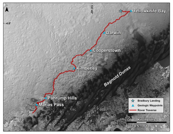 This map shows the route driven by NASA's Curiosity Mars rover from the location where it landed in August 2012 to its location in mid-November 2015, approaching examples of dunes in the