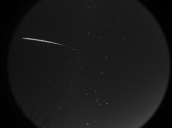 A Northern Taurid fireball recorded on an Oculus All-Sky camera (Starlight Express) in the Tucson AZ foothills, by Eliot Herman.