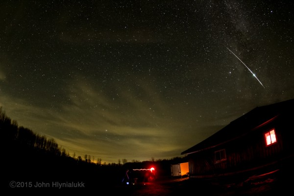 John Hlynialukk caught this meteor on November 14, 2015 from the Bluewater Outdoor Education Centre near Wiarton, Ontario.  He wrote: