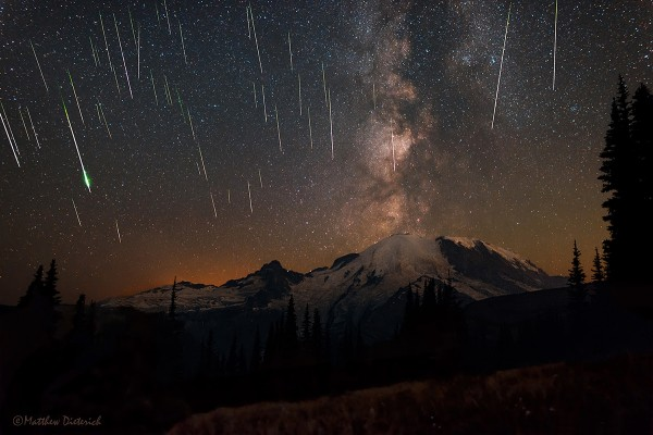View larger. | Taken during the 2015 Perseid meteor shower in August - at Mount Rainier National Park - by Matt Dieterich.  He calls the photo 'Skyfall.'