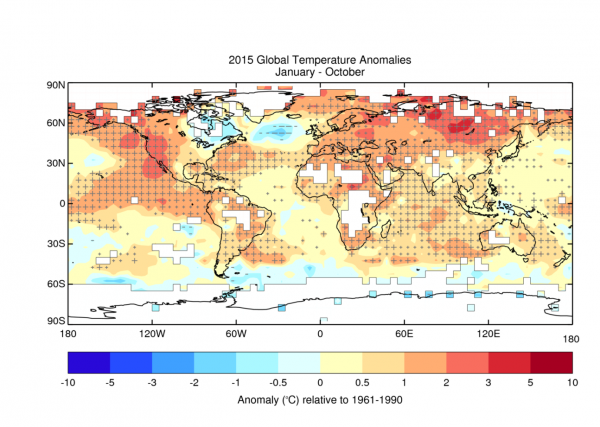 Average temperature anomalies for January to October 2015 from the HadCRUT.4.4.0.0 data set. Crosses (+) indicate temperatures that exceed the 90th percentile, signifying unusual warmth, and dashes (-) indicate temperatures below the 10th percentile, indicating unusually cold conditions. Large crosses and large dashes indicate temperatures outside the range of the 2nd to 98th percentiles. Source: Met Office Hadley Centre, via WMO.