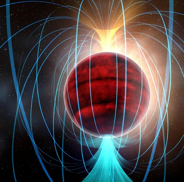 Artist's impression of red dwarf star TVLM 513-46546. ALMA observations suggest that it has an amazingly powerful magnetic field (shown by the blue lines), potentially associated with a flurry of solar-flare-like eruptions. Image credit: NRAO/AUI/NSF; Dana Berry / SkyWorks