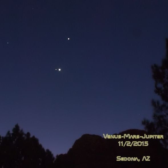 Venus, Mars and Jupiter by KD Borcoman in Sedona, Arizona.  Photo taken November 2, 2015.