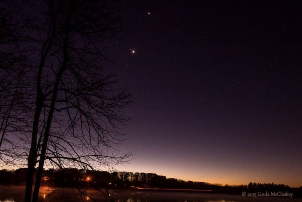Mars and Venus in conjunction on November 3, 2015 as captured by Linda McCloskey in western Pennsylvania.
