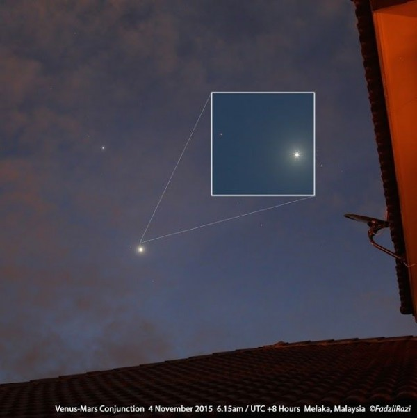 View larger. | Venus and Mars - with Jupiter nearby.  The inset shows the Venus-Mars conjunction.  Photo taken November 4, 2015 by Mohamed Fadzli in Malaysia.