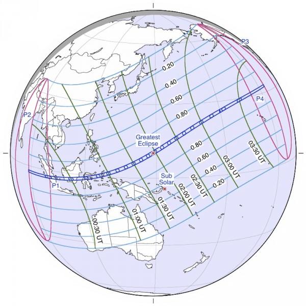 Partial solar eclipse of March 8-9, 2016 via Fred Espenak/ NASA GSFC.