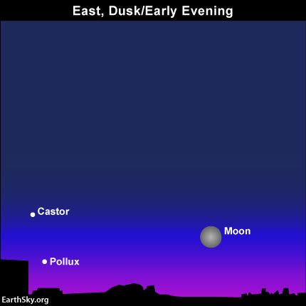 On this Christmas night, 2015, you can see the moon rise near the Twin stars, Castor and Pollux in the constellation Gemini.