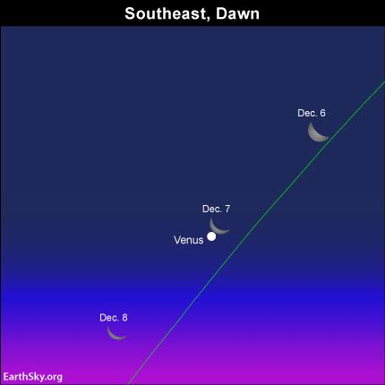 If you're up early on December 6, 7 or 8, don't forget to view the moon and Venus!