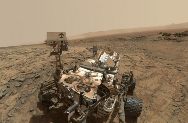 A Selfie on Mars. Curiosity extended its robotic arm and used the camera on the arm's end to capture this self portrait on October 6,2015. The image was taken at the