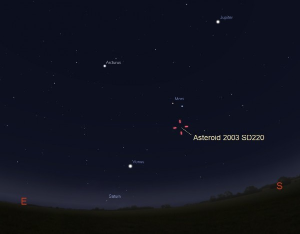 View larger. | Illustration showing location of asteroid 2003 SD220 on the sky, 30 to 45 minutes before sunrise on December 25, 2015. No, the asteroid will not be visible to the unaided eye or though small telescopes. However, advanced amateurs using 12