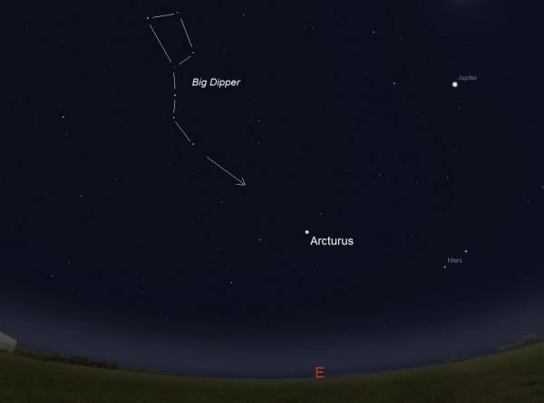 Facing east beginning around 4:30 a.m. local time until sunrise in early January. How can you know which star is Arcturus? The stars that form the Big Dipper's handle point to this star. Before sunrise on January 9, Comet Catalina will be located at the tip of the arrow. Illustration by Eddie Irizarry using Stellarium.