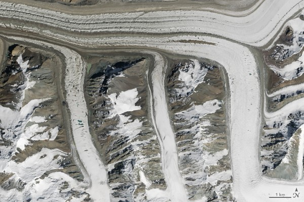 On August 14, 2015, the Operational Land Imager (OLI) on Landsat 8 captured this image of glaciers in the Tian Shan mountains in northeastern Kyrgyzstan. The trail of brown sediment in the middle of the uppermost glacier is a medial moraine, a term glaciologists use to describe sediment that accumulates in the middle of merging glaciers. Image credit: NASA