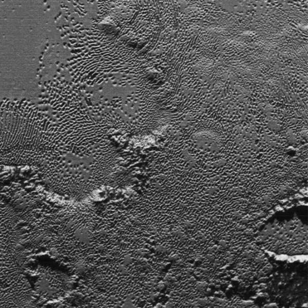 Imaged by New Horizons July 14, 2015, using the LORRI (LOng Range Reconnaissance Imager) camera. Credit: NASA / JHU-APL / SWRI.