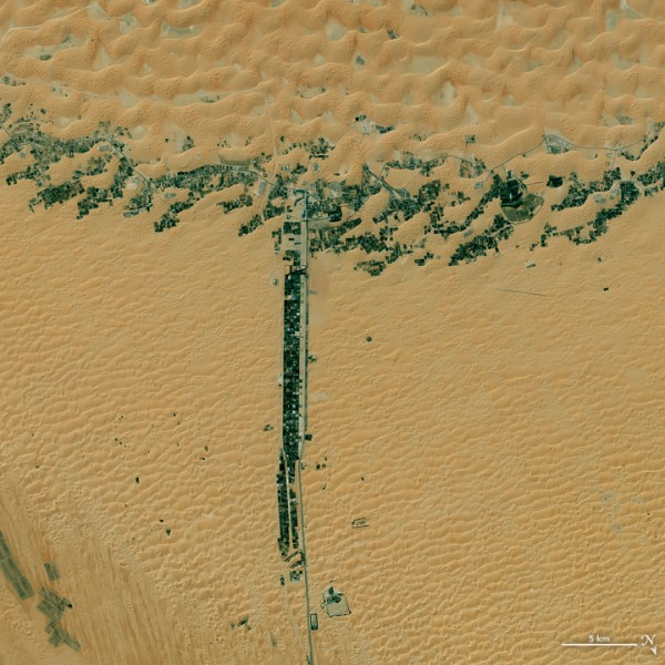 On March 9, 2015, the Operational Land Imager (OLI) on Landsat 8 captured this image of development along two roads in the United Arab Emirates. Image credit: NASA