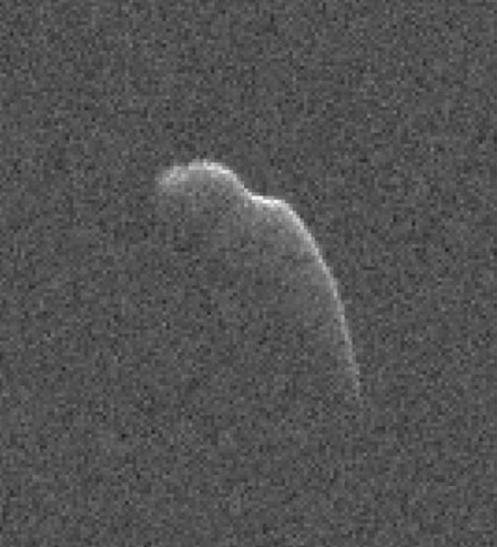 Asteroid image from Goldstone: This image of asteroid 2003 SD220 was taken on December 17, 2015 by scientists using NASA's 230-foot (70-meter) Deep Space Network antenna at Goldstone, California. On Dec. 17, it was about 7.3 million miles (12 million km) from Earth. Image via NASA/JPL-Caltech/GSSR