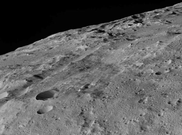 Ceres, as seen by NASA's Dawn spacecraft on December 10, around a crater chain called Gerber Catena. Image credit: NASA/JPL-Caltech/UCLA/MPS/DLR/IDA, CC B