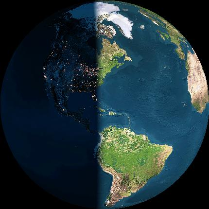 Earth globe vertically divided, half in light and half in darkness.