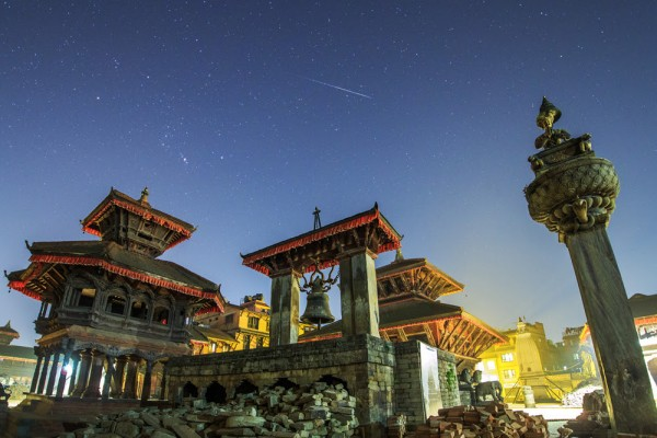 View larger. | Geminid meteor caught in Nepal by Jeff Dai.  Jeff wrote: