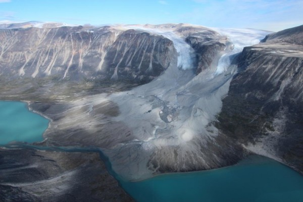 Glaciers usually advance during cold times and recede during warm ones. These two in western Greenland are now retreating from where they may have been when the Vikings arrived. Image credit: Jason Briner