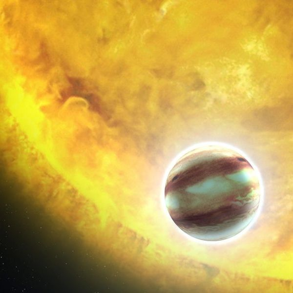 Artist's concept of a 'hot Jupiter' - a Jupiter-sized exoplanet orbiting very close to its star.