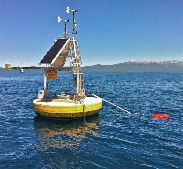A combination of satellite data and ground measurements, such as from instrumented buoys like this one in Lake Tahoe on the California/Nevada border, were used to provide a comprehensive view of changing lake temperatures worldwide. The buoy measures the water temperature from above and below. Image credit: Limnotech