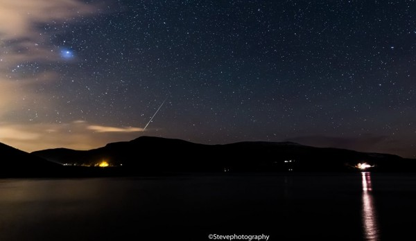 Steve Photography posted this photo to EarthSky Facebook on December 10.  He caught this Geminid meteor over Lough Talat in Ireland last week.