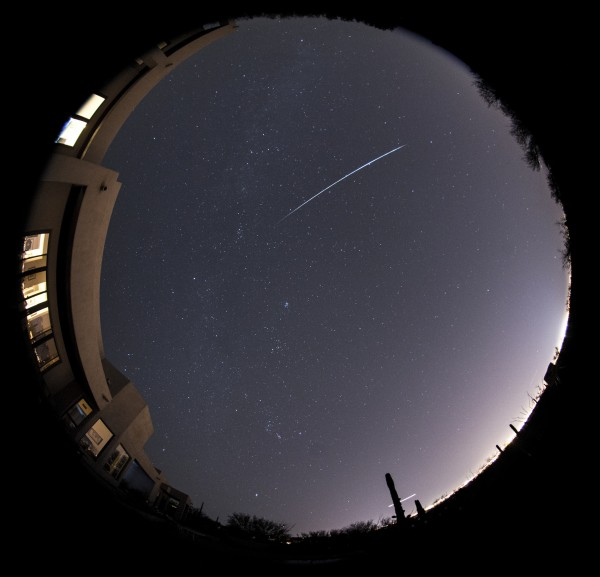 View larger. | Early Geminid fireball caught on December 2, 2015 at 10:34 p.m. from the Tucson, Arizona foothills. Photo by Eliot Herman.