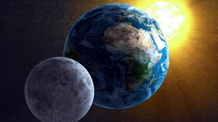 Sun, Earth, and moon, not to scale.