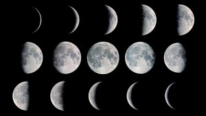 A composite of phases of the moon.