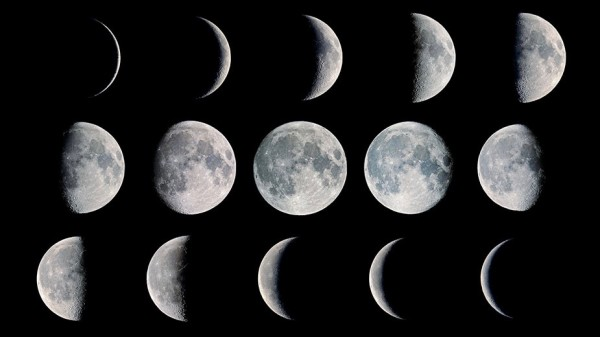 Three rows showing moon from thin crescent to full round circle to thin crescent again.