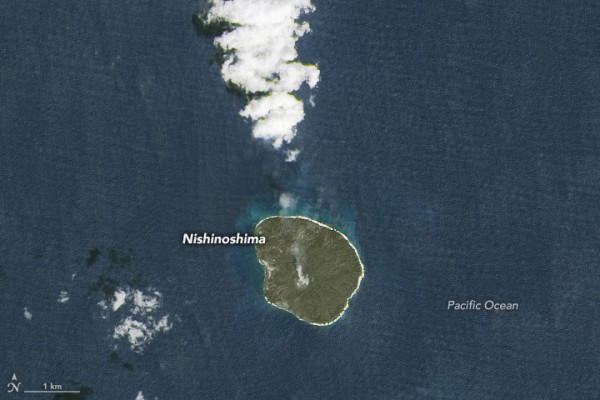 This image was acquired by Landsat 8 on October 11, 2015. NASA says it's the most recent cloud-free view. In both images, pale areas just offshore likely reveal volcanic gases bubbling up from submerged vents or sediments disturbed by the eruption.  Image via NASA Earth Observatory.