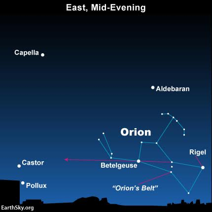 Chart with Orion, Betelgeuse to its left and Castor and Pollux at far left, purple arrow from Orion to Gemini.