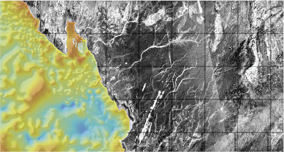 Paleoriver network underneath Sahara sands that was discovered with radar imagery. Image Credit: Skonieczny et al. 2015 Nature Communications 6: 8751.