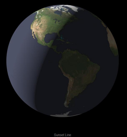 Earth globe dark to the west of a slanted line from Eastern Pacific to Greenland.