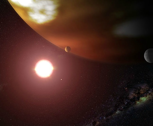 Artist's impression of the newly-named planet Thestias around its star Pollux. Credit: NASA/ESA and G. Bacon (STScI).