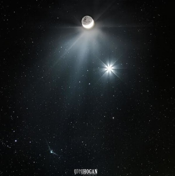 View larger. | Plus, Greg Hogan of Kathleen, Georgia, of December 7 moon, Venus and Comet Catalina.  Greg told EarthSky: