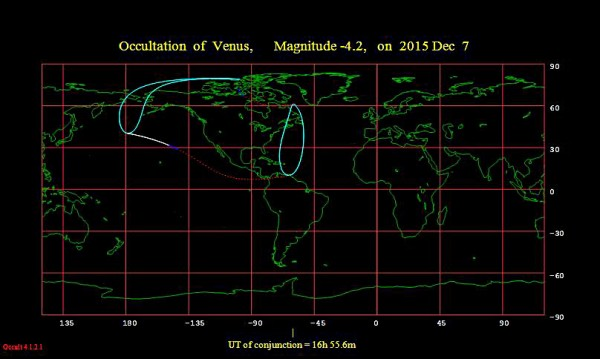Much of North America is facing the right way as the moon occults, or covers over, Venus on Monday.  But for the continental U.S., the occultation happens in daylight.  Chart via lunar-occultations.com.