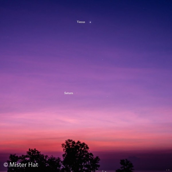 View larger. | The planets Venus and Saturn before sunrise on December 27, 2015.  Photo by Vince Babkirk aka Mister Hat.