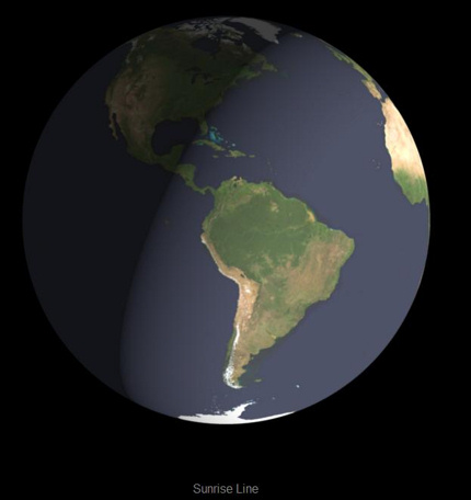 Earth globe half in darkness with line dividing light and dark from eastern Pacific to Greenland.